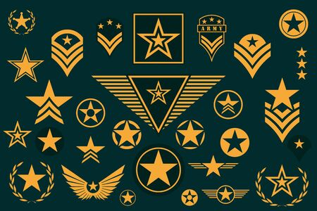 Set of Army Star. Military Rank Insignia. Military Symbol, Badge, Label Illustration