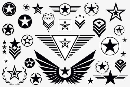 Set of Army Star. Military Rank Insignia. Military Symbol, Badge, Label  イラスト・ベクター素材
