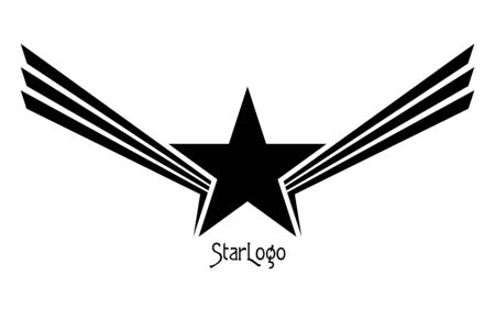 Star with Wings Abstract . Design Elements. Symbol of Success and Achievements Illustration