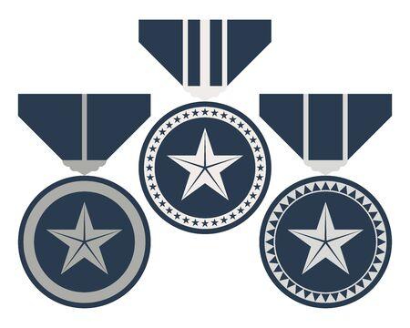 Rang-Medaillen-Set. Level- und Fortschritts-Award-Zeichen. Vektor-Illustration