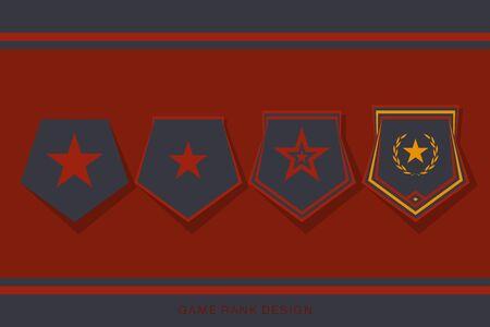 Rangabzeichen-Set für die Benutzeroberfläche des Spiels. Level- und Fortschritts-Award-Zeichen. Vektor-Illustration Vektorgrafik