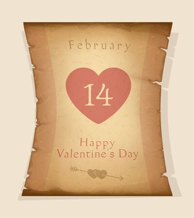 Happy Valentines Day. 14 February. Holiday Greetings. Valentines Day Congratulations Text on Papyrus. Vector Illustration Ilustração