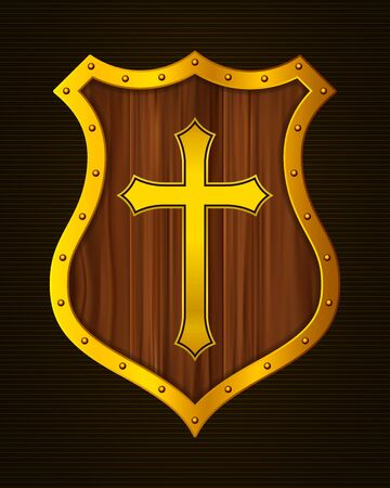 Golden Christian Cross and Shield of Faith. Religious Symbol. Creative Christian Icon. Protection, Safety, Security Sign. Gold Shield with Cartoon Wooden Texture