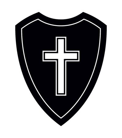 Christian Cross and Shield of Faith. Religious Symbol. Creative Christian Icon. Protection, Safety, Security Sign. Black and White