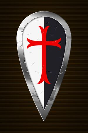 Medieval Shield. Templar Shield. Shield of Knight with Cross. Design Elements.