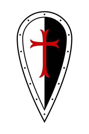 Medieval Shield. Templar Shield. Shield of Knight with Cross. Design Elements. Vector Isolated Illustration