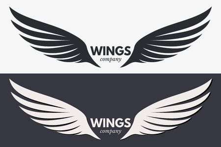 Winged Emblem for Your Company. Wing Silhouette for Heraldry, Tattoo, Logo or Other Symbols