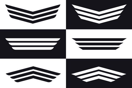 Stylized Simple Stripes as Wings. Simple Wing Silhouette for Heraldry, Tattoo, Logo or Other Symbols. Vector Set