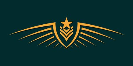 Winged Emblem for Your Company. Wing Silhouette for Heraldry, Tattoo, Logo or Other Symbols  イラスト・ベクター素材