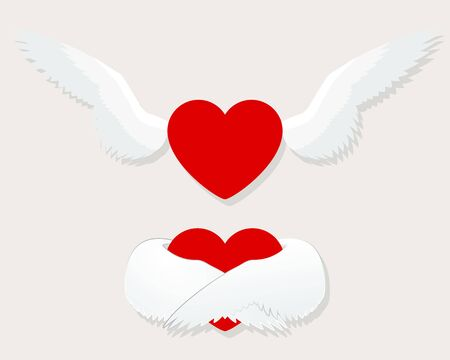 Hearts with Wings for Greeting Card, Fabric, Print. Valentines Day Vector Illustration