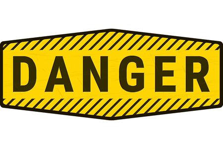 Warning Danger Sign.  Grunge Rusty Plate with Yellow and Black Word Text and Stripes. Concept Illustration for Caution, Keep Out, Hazard and other Dangerous Areas