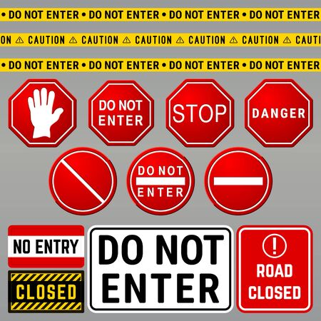 Do Not Enter Danger Warning Signs. Prohibition and Restriction Symbols Set. Vector Illustration Illustration