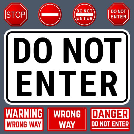 Do Not Enter Danger Warning Signs. Prohibition and Restriction Symbols Set. Vector Illustration Illustration