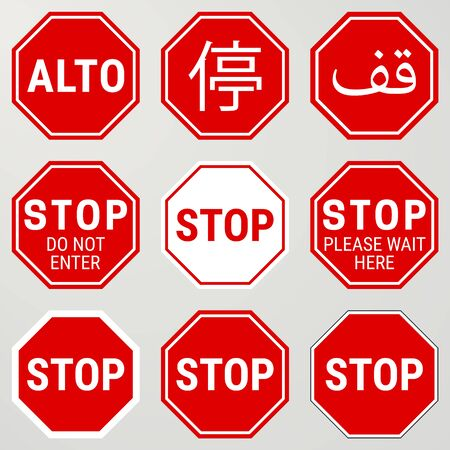 Stop Road Sign Set. Different Versions, also Spanish and Chinese Version. Vector Illustration Isolated on Background