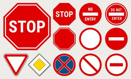 Base Road Sign Set. Traffic Icons. Vector Illustration Isolated on Background