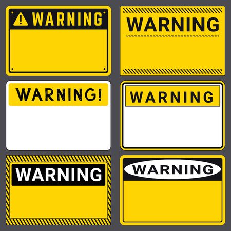 Warning. Safety Blank Labels with Space for Your Text. Various Embodiments Safety Banners. Vector Illustration  イラスト・ベクター素材
