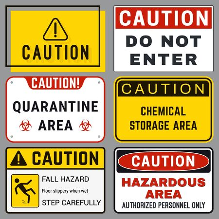 Caution. Safety Blank Labels with Ability to Replace Text You Need. Various Embodiments Safety Banners. Vector Illustration