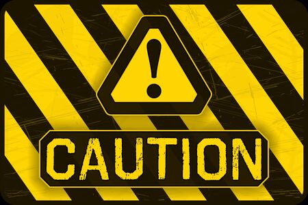 Caution Banner. Yellow and Black Safety Background. Warning Wallpaper. Vector  イラスト・ベクター素材