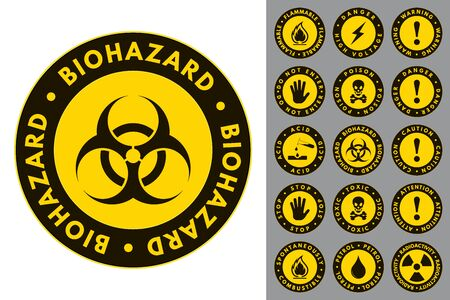 Warning and Danger. Round Icons. Set of Road and Safety Signs. Vector Isolated Labels