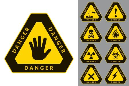 Warning and Danger. Triangular Icons. Set of Road and Safety Signs. Vector Isolated Labels