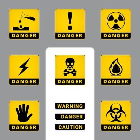 Warning and Danger. Square Icons. Set of Road and Safety Signs. Vector Isolated Labels