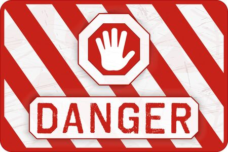 Danger Banner. Red and White Safety Background. Worn and Grunge Warning Wallpaper. Vector  イラスト・ベクター素材