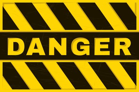 Danger Banner. Yellow and Black Safety Background. Worn and Grunge Warning Wallpaper. Vector  イラスト・ベクター素材