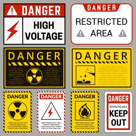 Danger. Safety Labels with Ability to Replace Text You Need. Various Embodiments Safety Banners. Vector Illustration