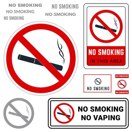 No Smoking Symbol. Set of Prohibition Signs. Finished Stickers, Labels and Badges  イラスト・ベクター素材