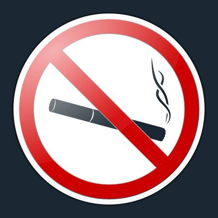 No Smoking Symbol. Prohibition Sign. Finished Sticker, Label and Badge
