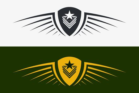 Winged Shield Emblem. Military Badge. Silhouette for Heraldry, Tattoo Other Symbols