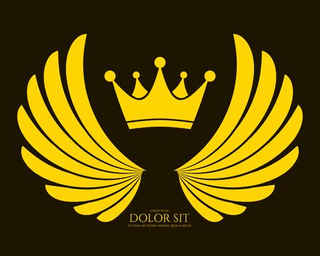 Winged Emblem for Your Company. Wing Silhouette for Heraldry, Tattoo,  or Other Symbols