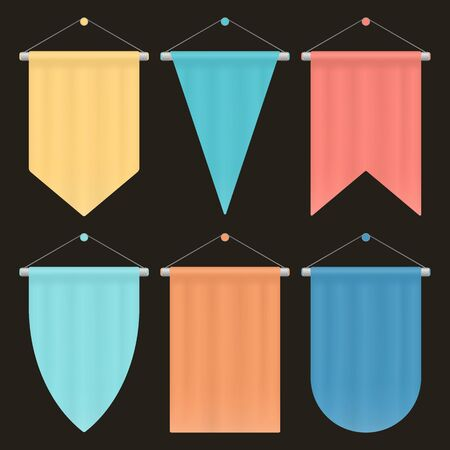 Template Colorful Blank Pennant. Set of Empty Hanging Banners. Posters and Flags Vector Mockup