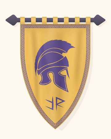 Festive Vertical Banner with Roman Helmet. Hanging Pennant for Inscription  . Wall Hangings Flag for Game. Vector Mockup