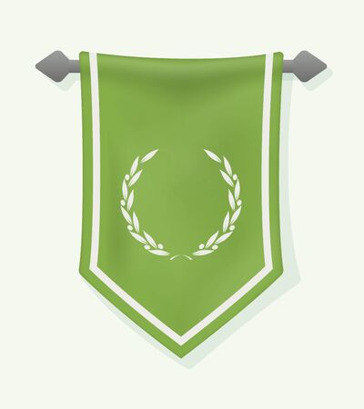 Festive Vertical Banner with Laurel Wreath. Hanging Pennant for Inscription . Wall Hangings Flag for Game. Vector Mockup