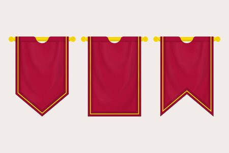 Blank Medieval Hanging Banner. Set of Empty Flags. Template Pennants and Posters Vector Mockup  イラスト・ベクター素材