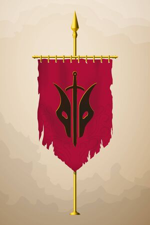 Medieval Vertical Banner with Abstract  . Wall Hangings Flag. Torn Pennant for Game with Easy Replaceable Emblem. Vector Mockup