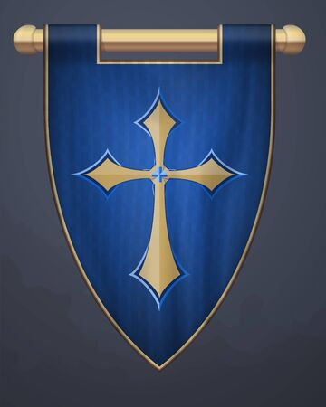 Medieval Vertical Banner with Crucifix. Wall Hangings Flag. Pennant  for Game with Easy Replaceable Emblem. Vector Mockup