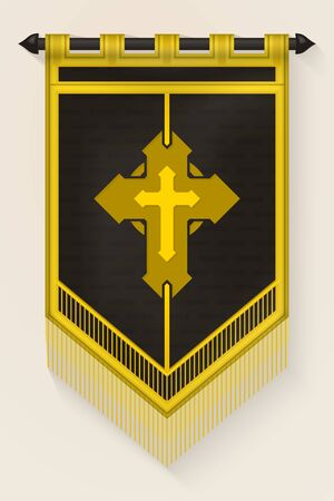 Medieval Vertical Banner with Christian Cross. Wall Hangings Flag. Pennant  for Game with Easy Replaceable Emblem. Vector Mockup