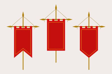 Medieval Pennant Hanging on Flagpole. Set of Blank Flags. Red Template Banner and Poster Vector Mockup