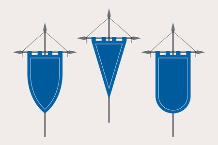 Medieval Pennant Hanging on Flagpole. Set of Blank Flags. Blue Template Banner and Poster Vector Mockup
