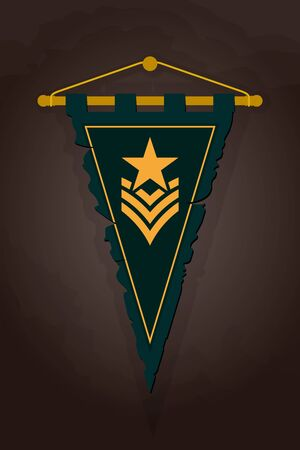 Medieval Triangular Pennant. Flag with Emblem Elite Military Force. Torn Old Banner for Game with Easy Replaceable Emblem. Wall Hangings Heraldic Flag Design