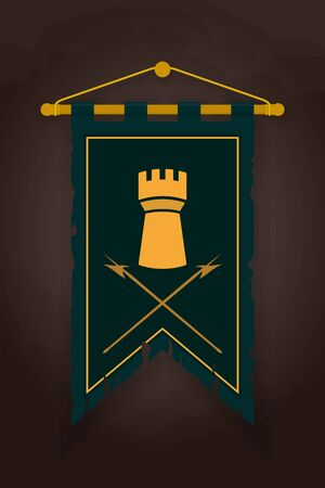 Medieval  Pennant. Flag with Tower and Halberds. Torn Old Banner for Game with Easy Replaceable Emblem. Wall Hangings Heraldic Flag Design