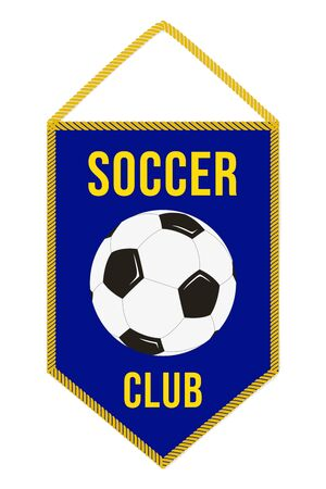 Soccer Pennant. Football Flag. Sport Pennon with Simple Emblem. Ball and Inscription