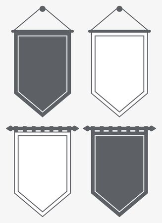 Template Blank Pennant. Silhouette and Outline Banners. Posters and Flags Vector Mockup. Illusztráció