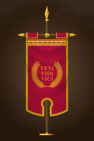 Medieval Vertical Banner with Latin Quote. Veni Vidi Vici. Wall Hangings Flag. War Pennant for Game with Easy Replaceable Emblem. Translation: I came, I saw, I conquered