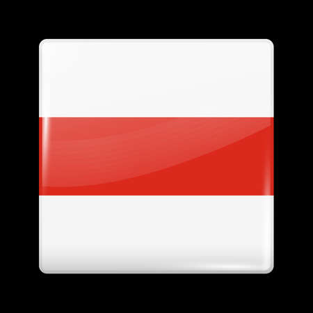 Belarus. Historical White-Red-White Flag. Glossy Icon Square Shape. Vector Button Illusztráció