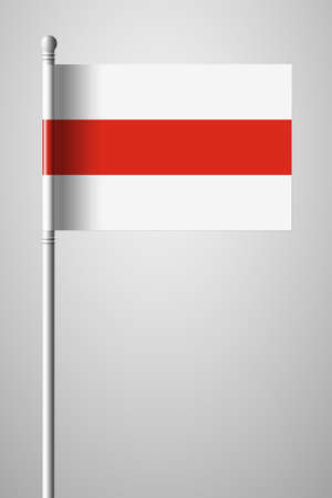Belarus. Historical White-Red-White Flag. National Flag on Flagpole. Isolated Illustration on Gray Background