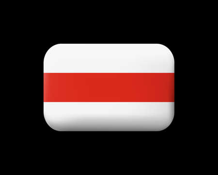 Belarus. Historical White-Red-White Flag. Matted Vector Icon and Button. Rectangular Shape with Rounded Corners