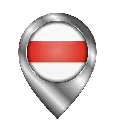 Belarus. Historical White-Red-White Flag. Vector Sign and Icon. Location Symbol Shape. Silver. Isolated Illusztráció